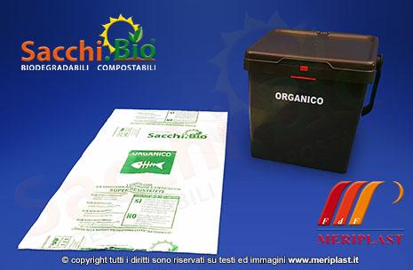 Busta compostabile e bidoncino per la raccolta dell'umido - SACCHI.BIO